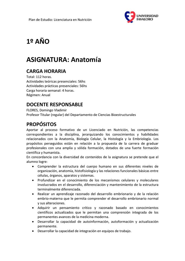 ASIGNATURA: Anatomía - Universidad Favaloro