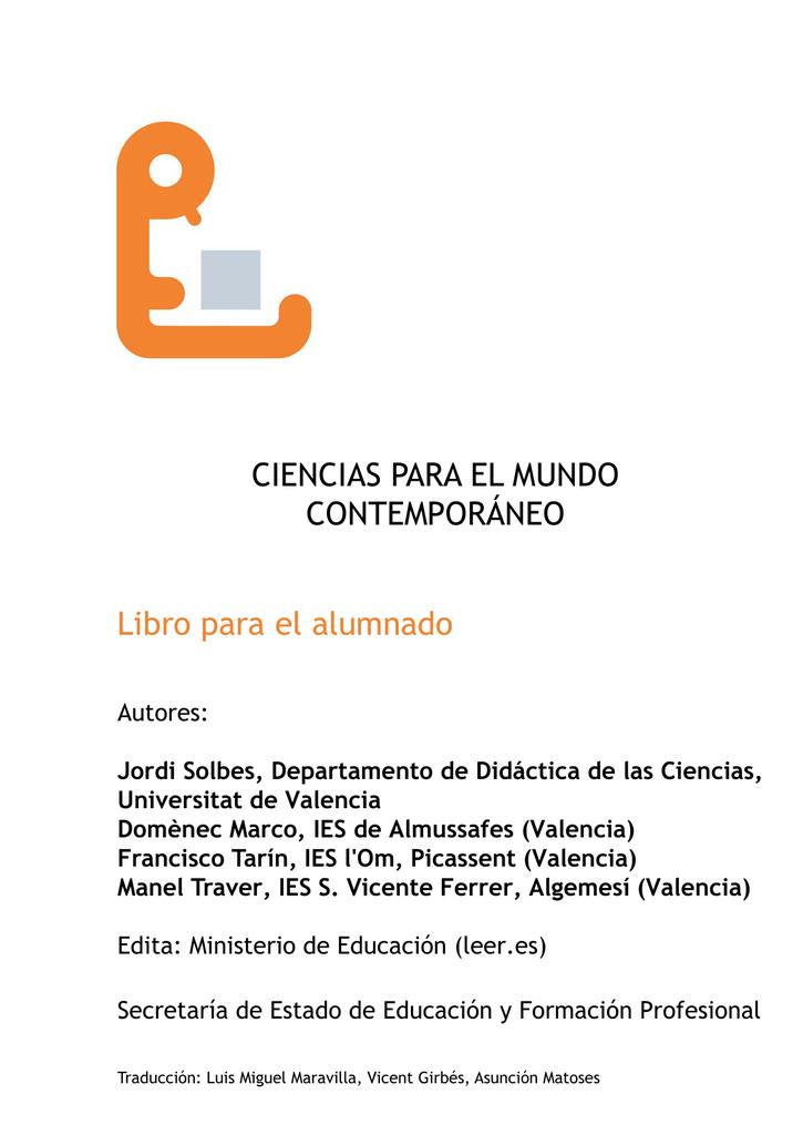 CIENCIAS PARA EL MUNDO CONTEMPORÁNEO Libro