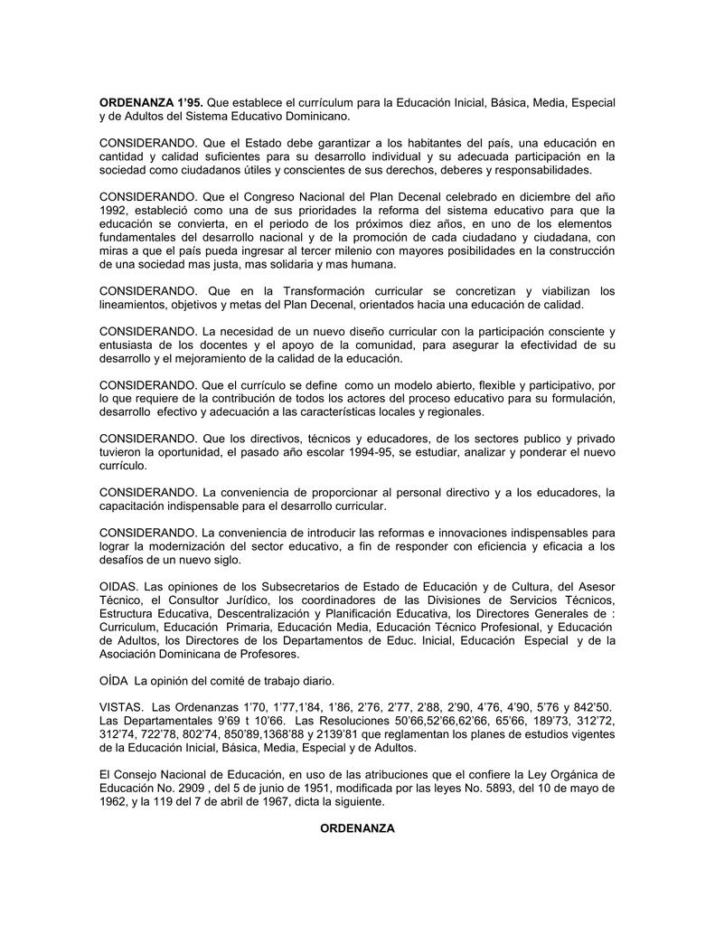 ORDENANZA 1`95. Que establece el currículum para la Educación