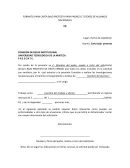 formato para carta bajo protesta para padres o