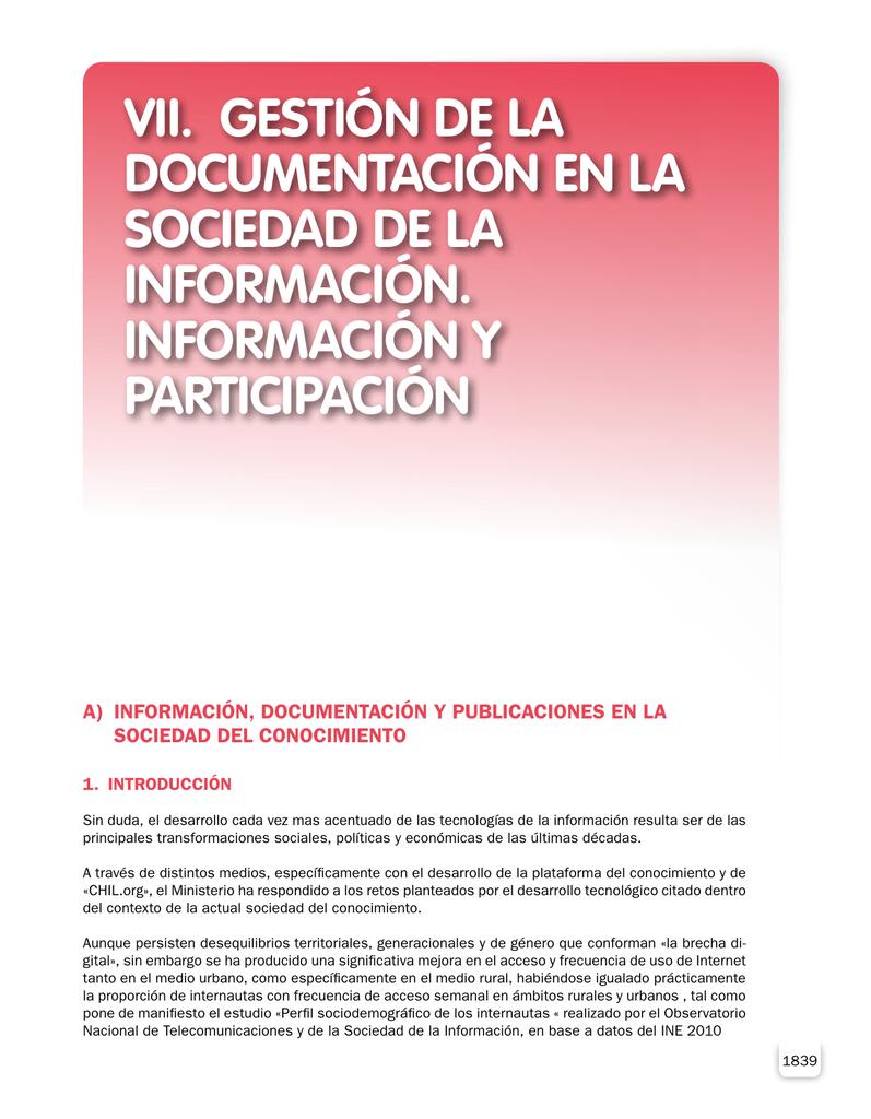 VII. GESTIÓN DE LA DOCUMENTACIÓN EN LA SOCIEDAD DE LA
