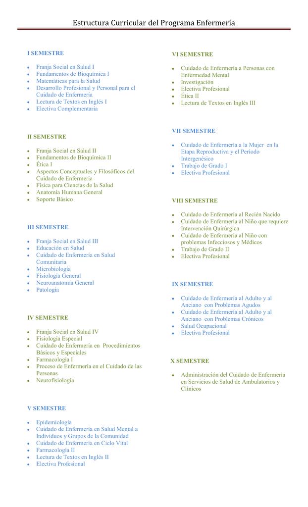 Estructura Curricular Del Programa Enfermería