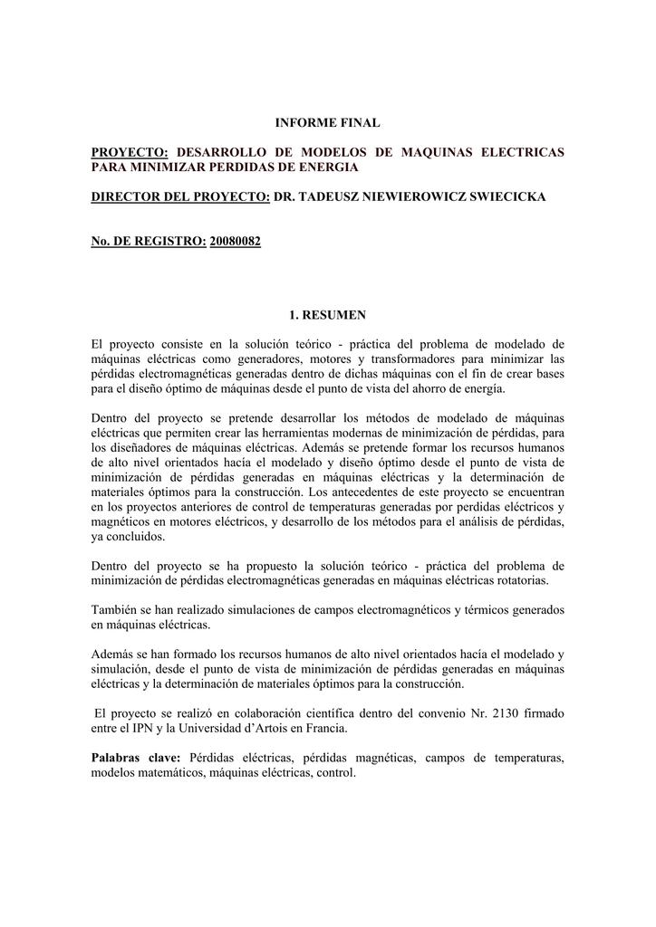 Informe Final Proyecto Desarrollo De Modelos De Maquinas
