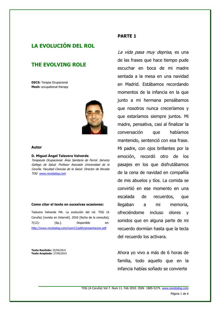 La Evolución Del Rol Revista De Terapia Ocupacional Galicia
