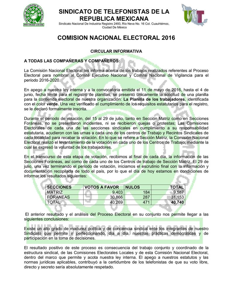 Circular De La Comisión Nacional Electoral