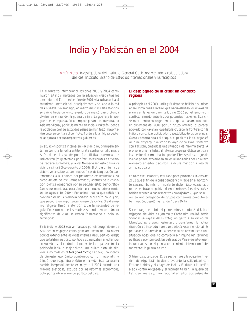 India y Pakistán en el 2004 - Anuario Asia