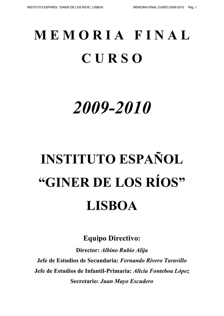 Memoriafinalcurso Instituto Español Giner De Los Ríos Lisboa