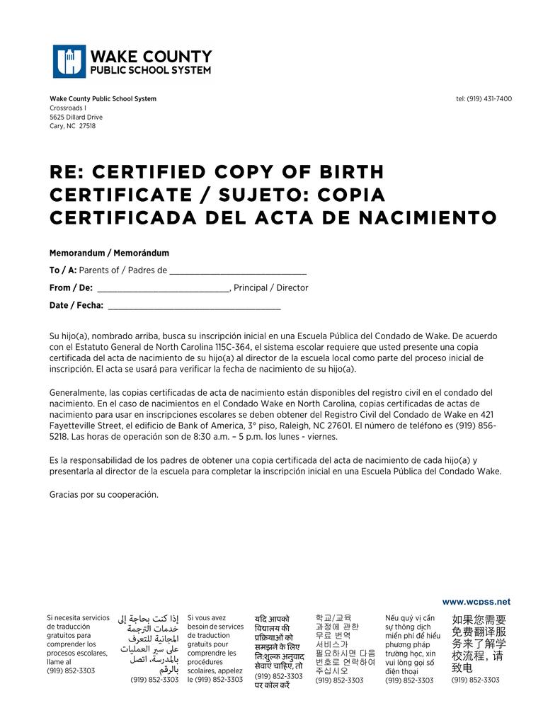 re: certified copy of birth certificate / sujeto: copia certificada ...