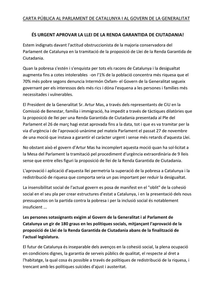 Carta Pública Entitats Catalanes D Acció Social
