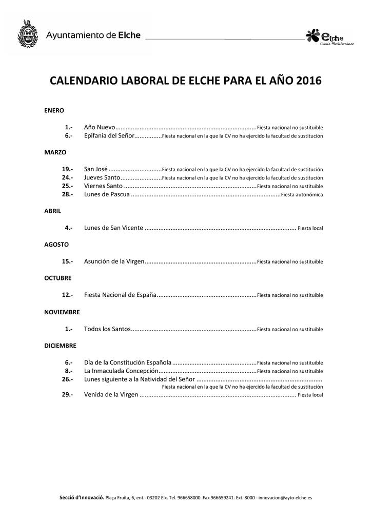 Calendario Laboral Elche.Calendario Laboral De Elche Para El Ano 2016