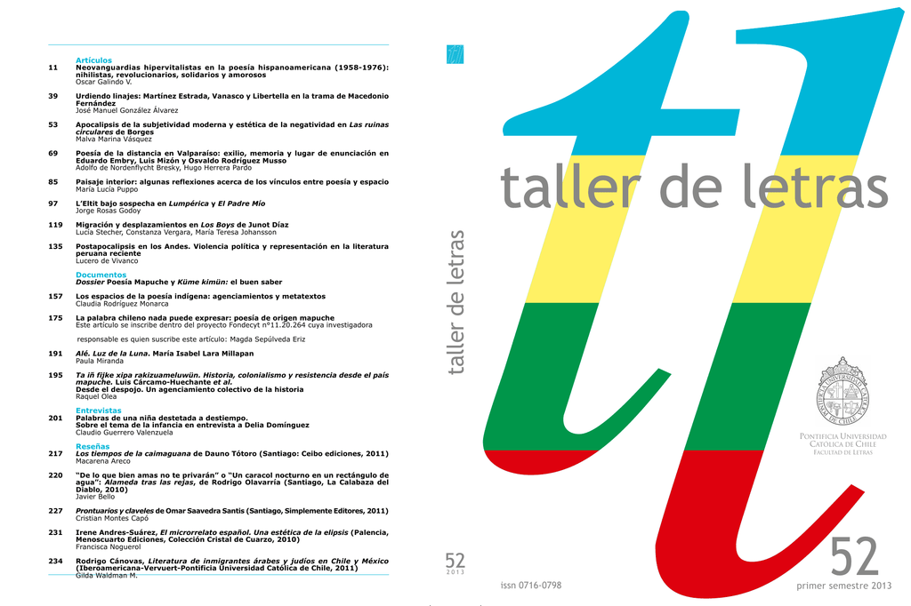Artículos Facultad De Letras Pontificia Universidad