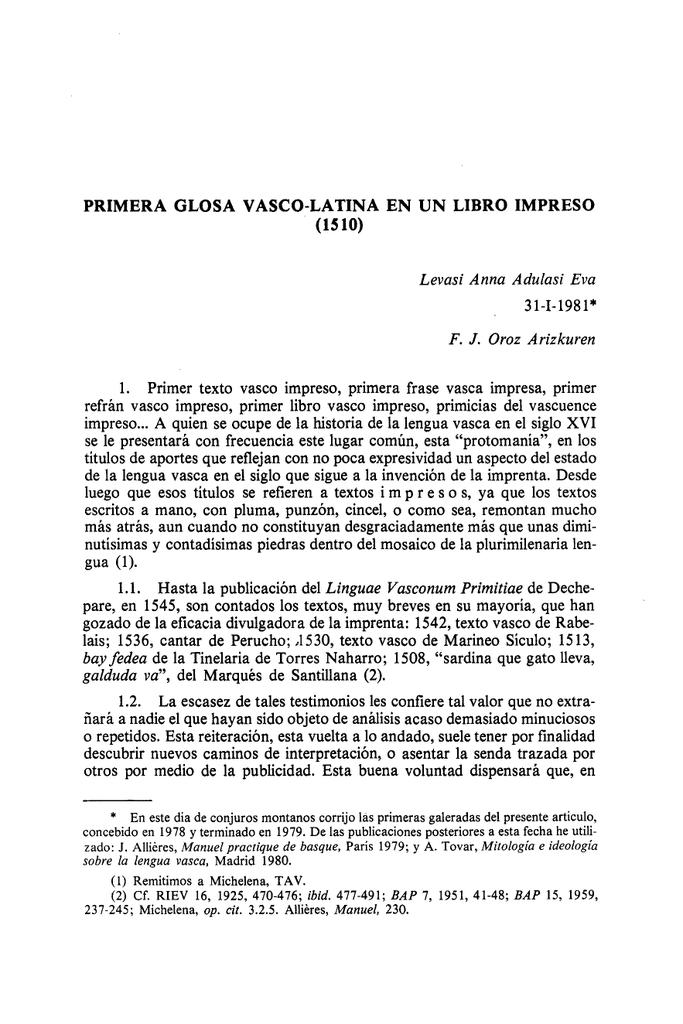 Primera Glosa Vasco Latina En Un Libro