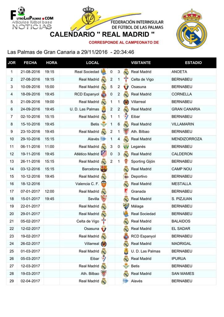 Calendario Real Madrid.Calendario Real Madrid