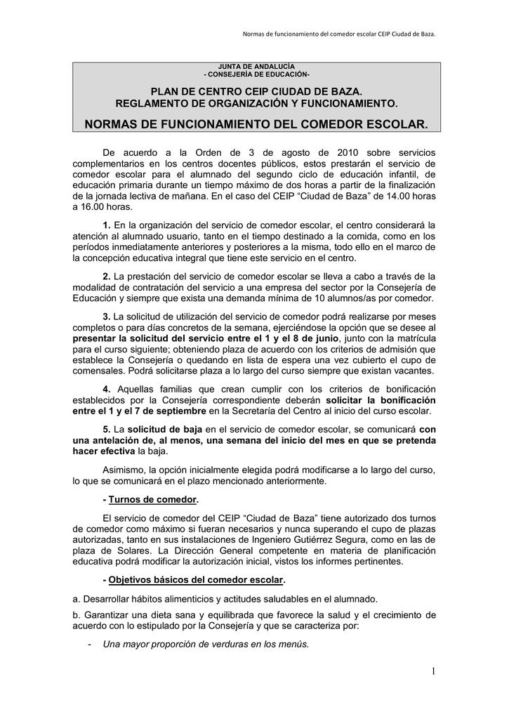 normas de funcionamiento del comedor escolar.