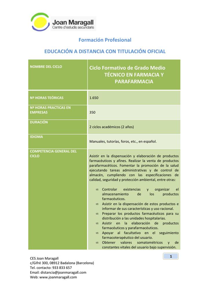 Cfgm Farmacia Y Parafarmacia Joan Maragall