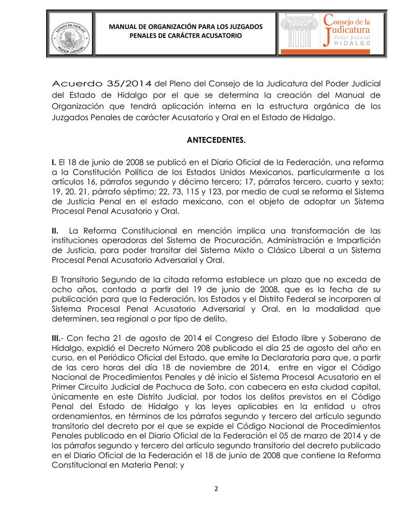 Manual De Organización Para El Sistema Penal Acusatorio Del