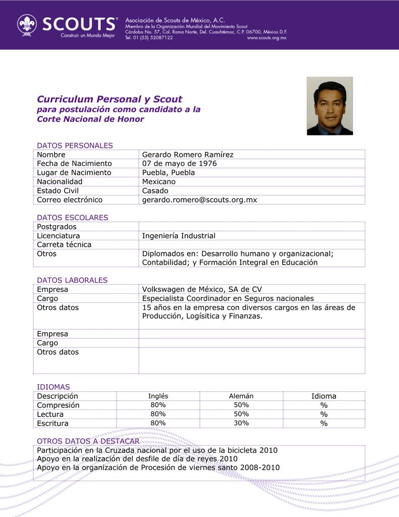 Curriculum Personal y Scout - Asociación de Scouts de México, AC
