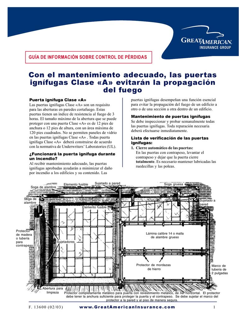Con el mantenimiento adecuado, las puertas ignífugas Clase «A