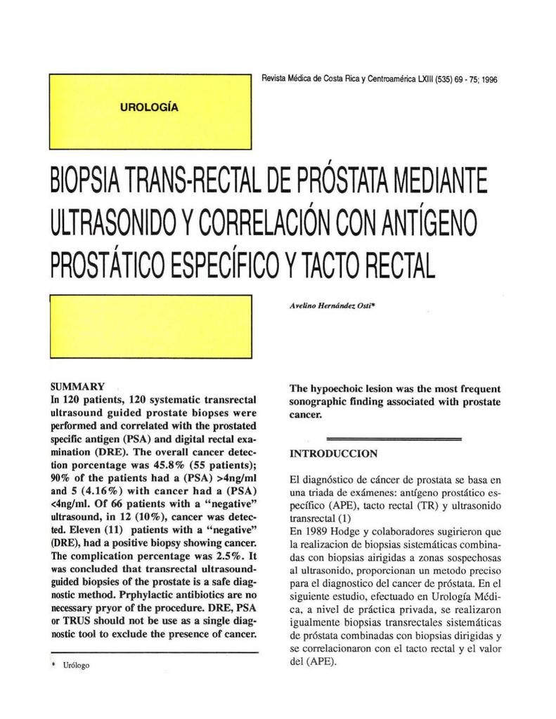 procedimiento de biopsia del trus prostático
