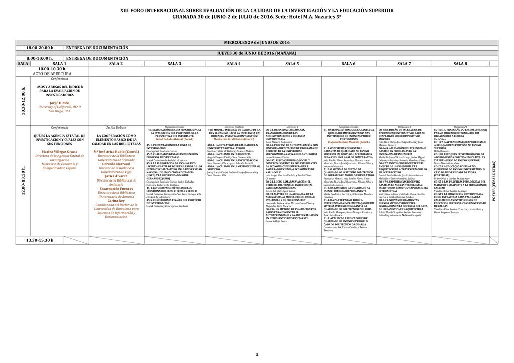programa científico general (horario)