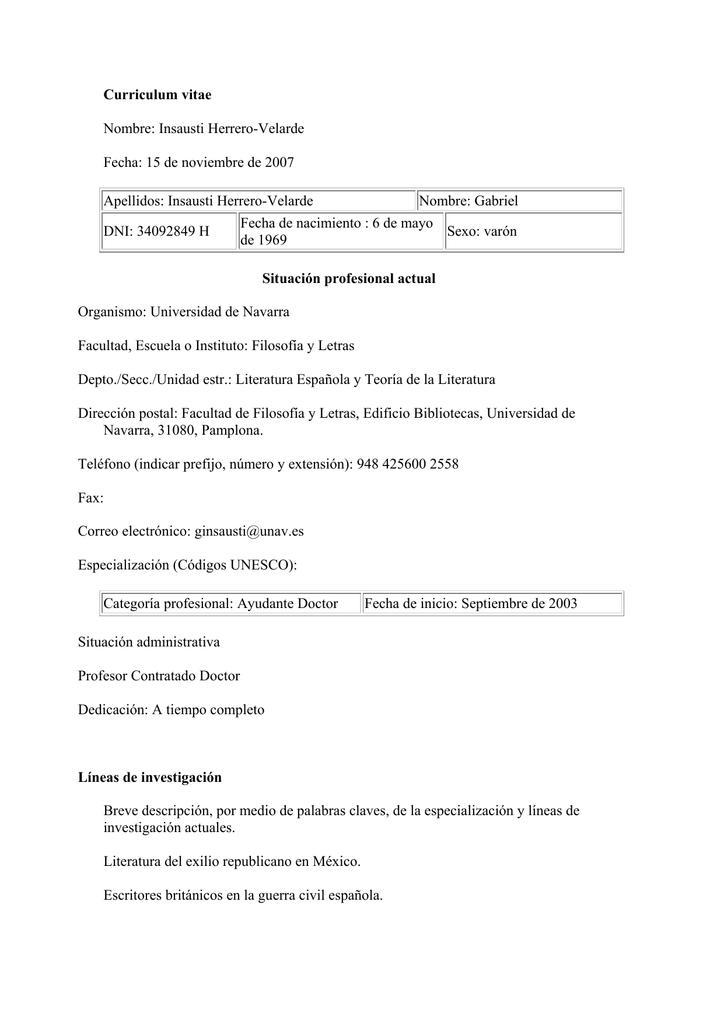 Curriculum vitae Nombre: Insausti Herrero