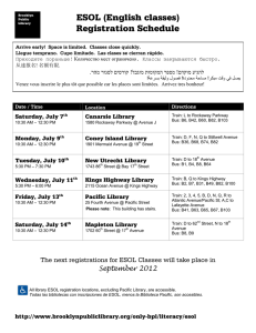 ESOL (English classes) Registration Schedule