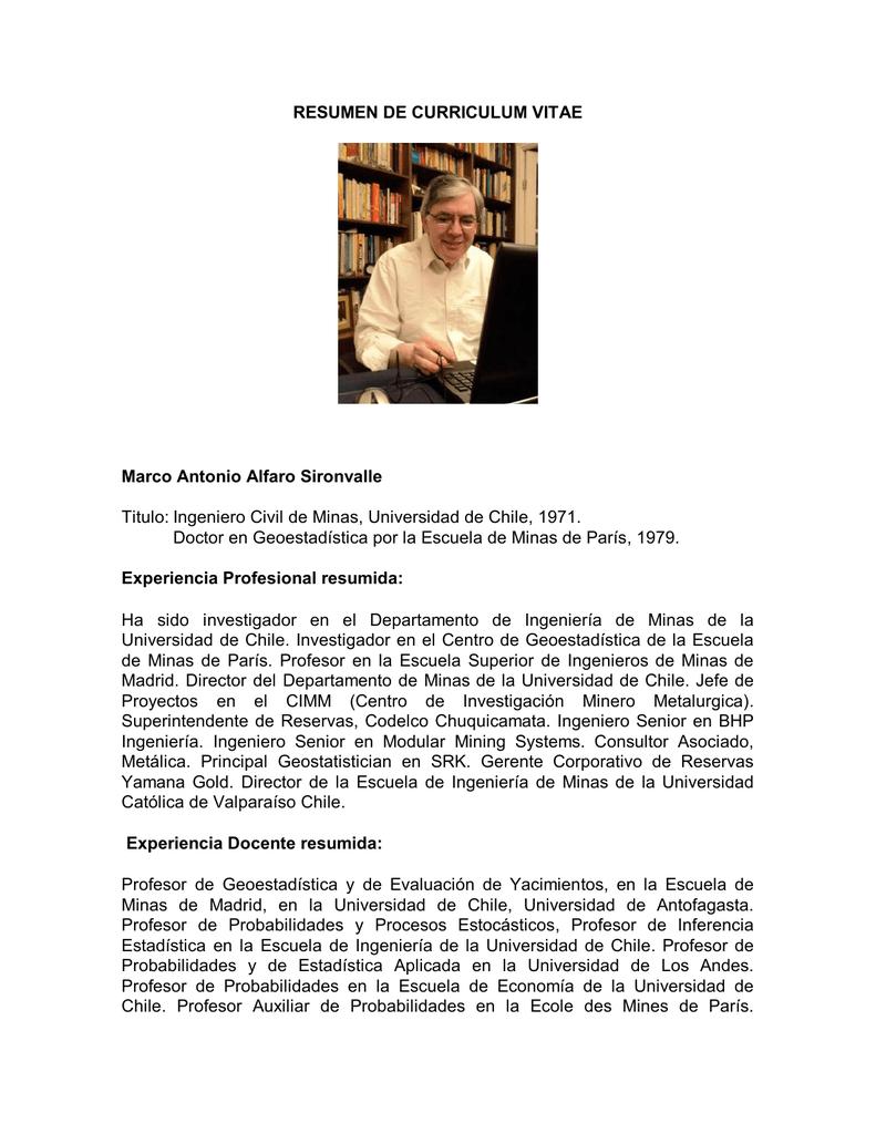 Dorable Resumen En Currículum Para Ingeniero Civil Colección ...