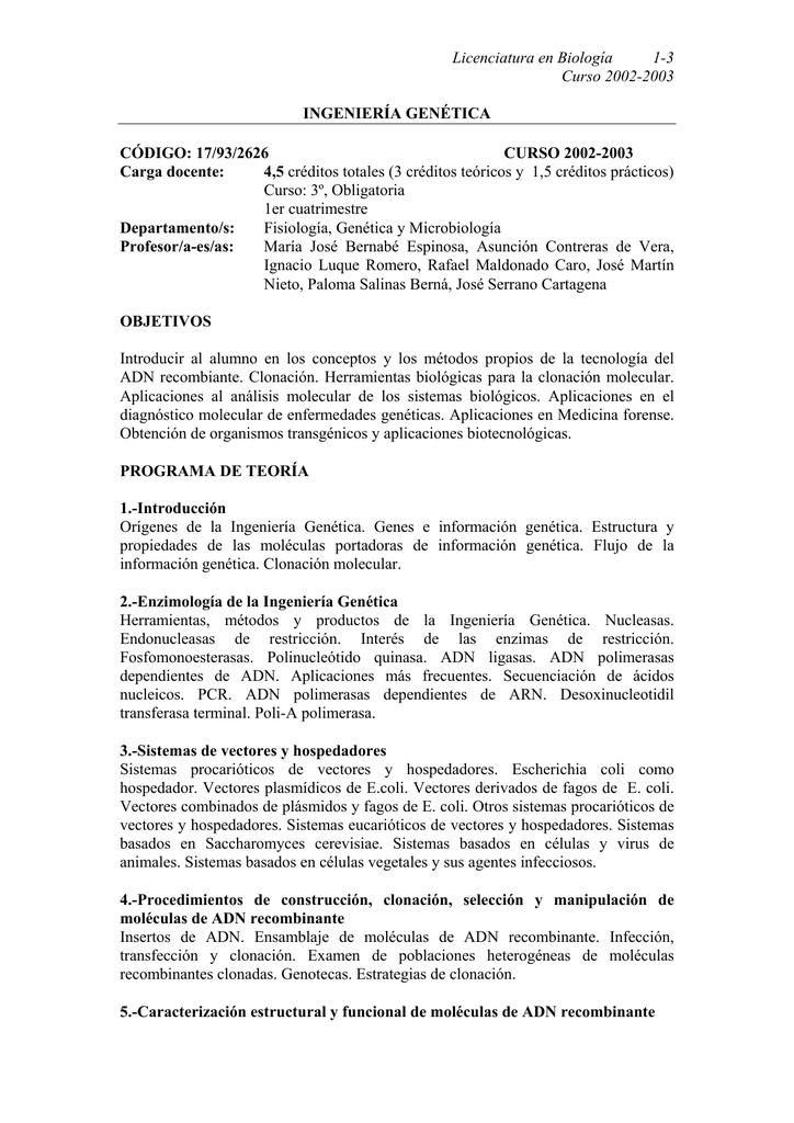 Ingenieria Genetica Facultad De Ciencias
