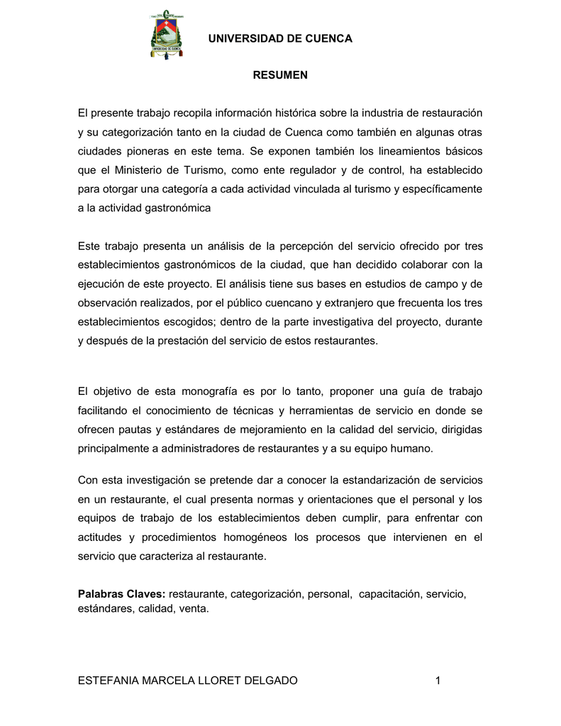 UNIVERSIDAD DE CUENCA ESTEFANIA MARCELA LLORET