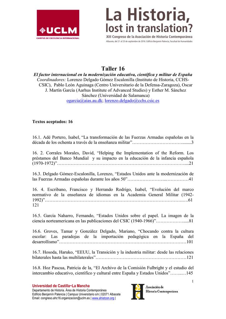 Taller 16 - Asociación de Historia Contemporánea