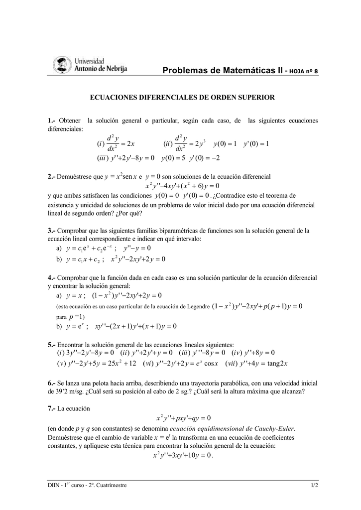 Problemas de Matemáticas II
