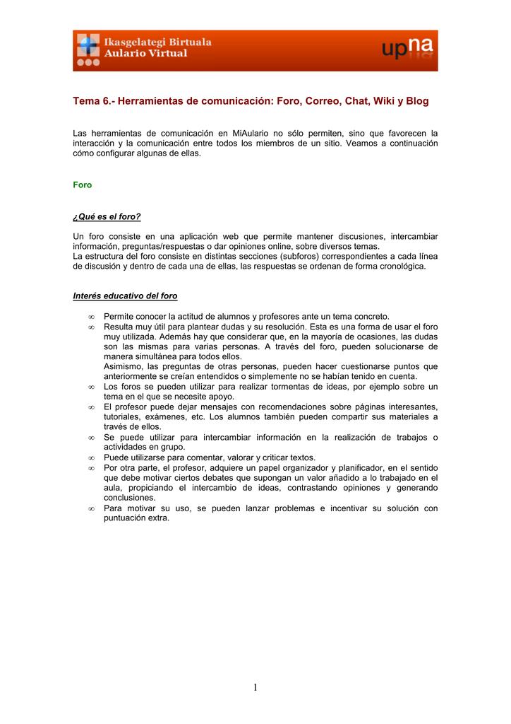 159ee8299609 Herramientas de comunicación: Foro, Correo, Chat, Wiki