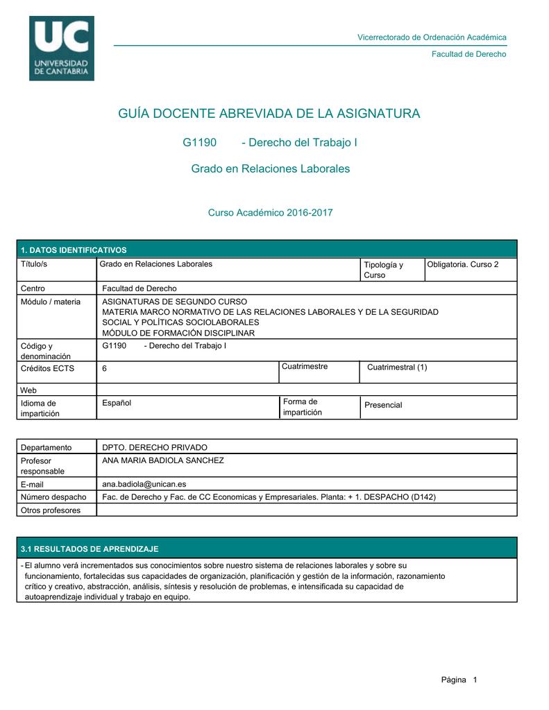Calendario Examenes Unican Derecho.Guia Docente Abreviada De La Asignatura Derecho Del Trabajo I