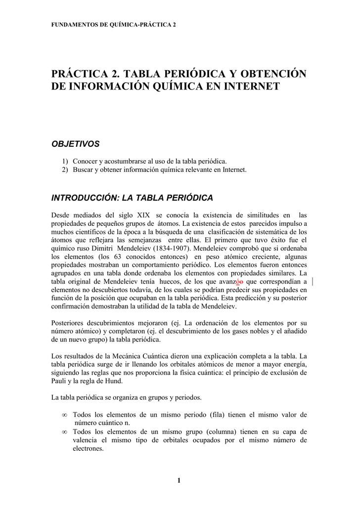 Prctica 2 tabla peridica y obtencin de informacin qumica en urtaz Choice Image