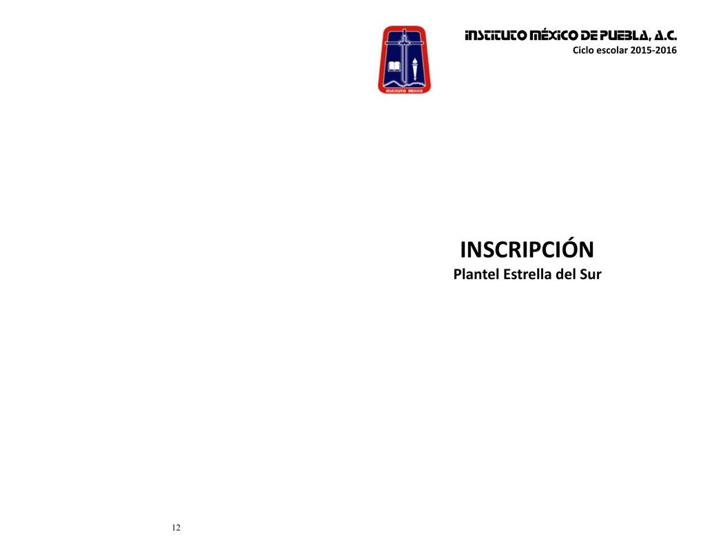 Inscripción Instituto México De Puebla