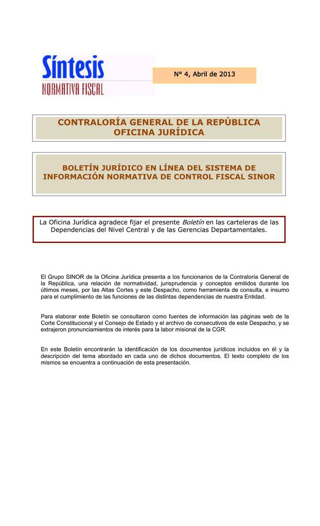 BOLETIN ABRIL - Contraloría General de la República