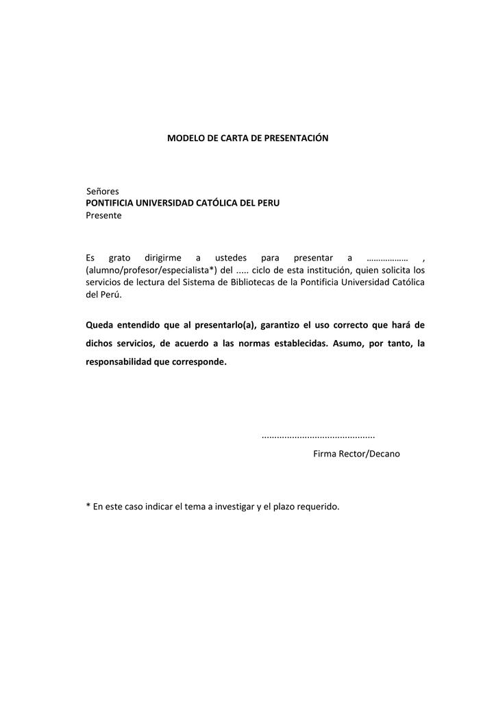 Modelo De Carta Pontificia Universidad Católica Del Perú