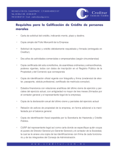 Requisitos para la Calificación de Crédito de personas morales