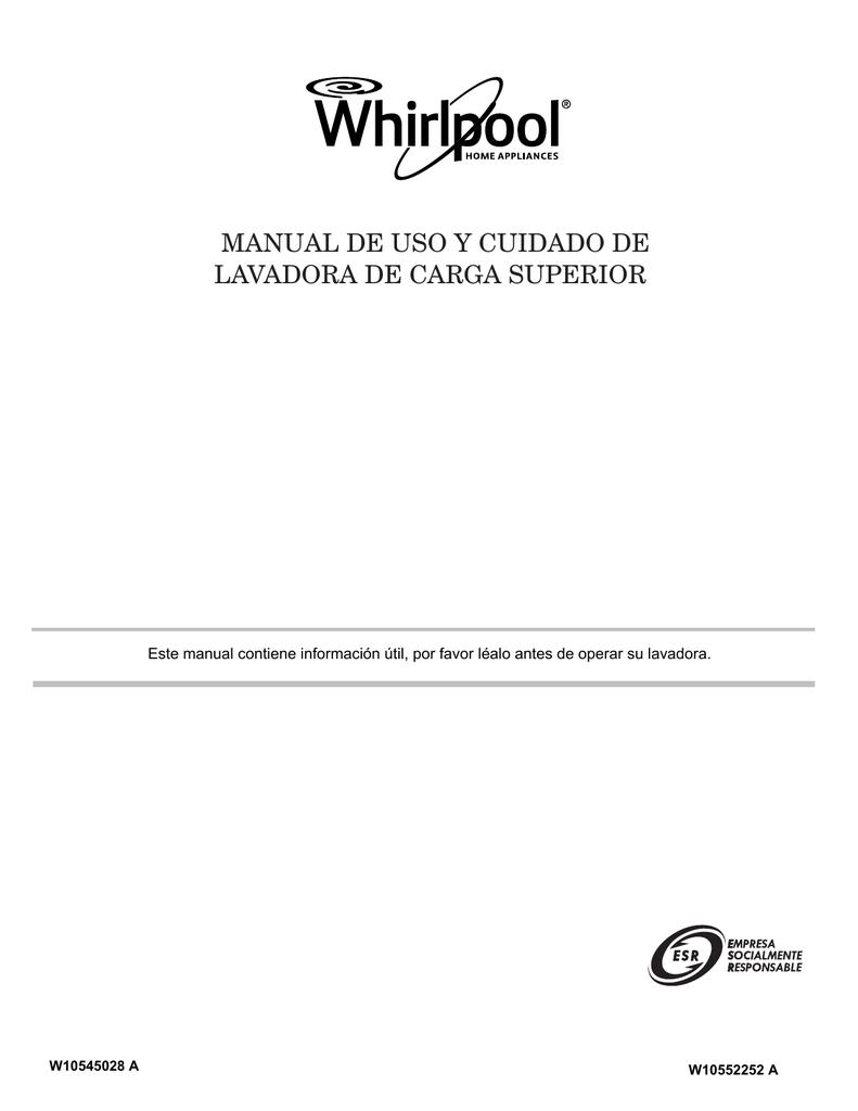 lavadora de carga superior manual de uso y cuidado de