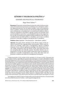 gÉNERO Y TOLERANCIA pOLÍTICA - Revistas de la Universidad