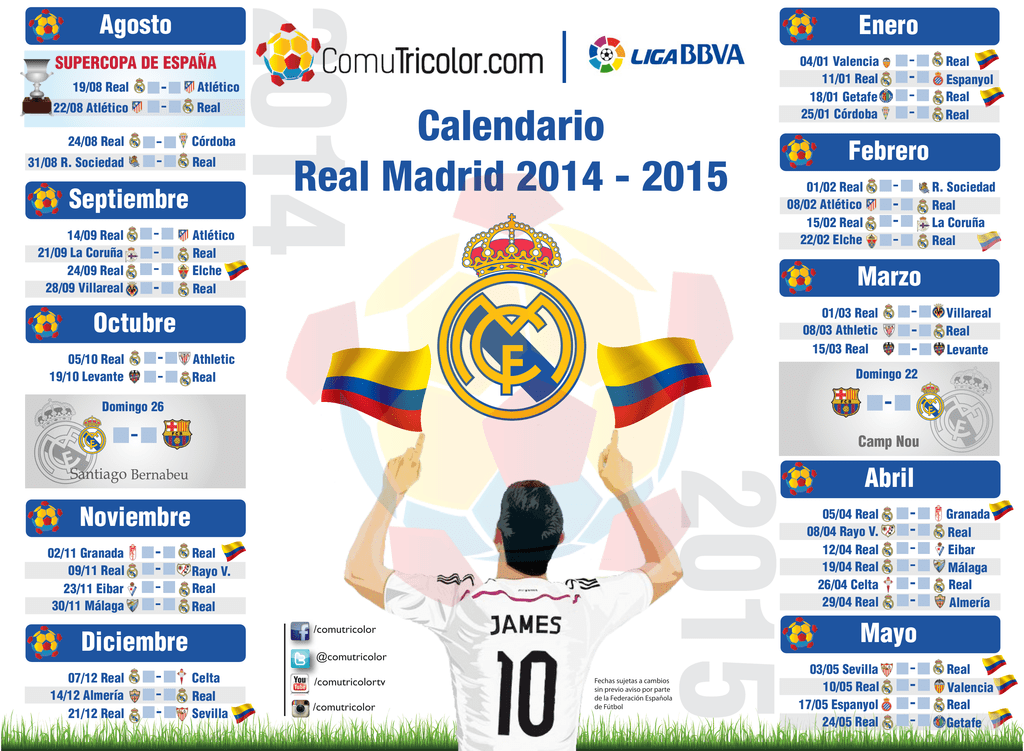 Calendario Del Real.Calendario Real Madrid