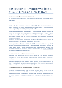 CONCLUSIONES INTERPRETACIÓN RD 475/2014