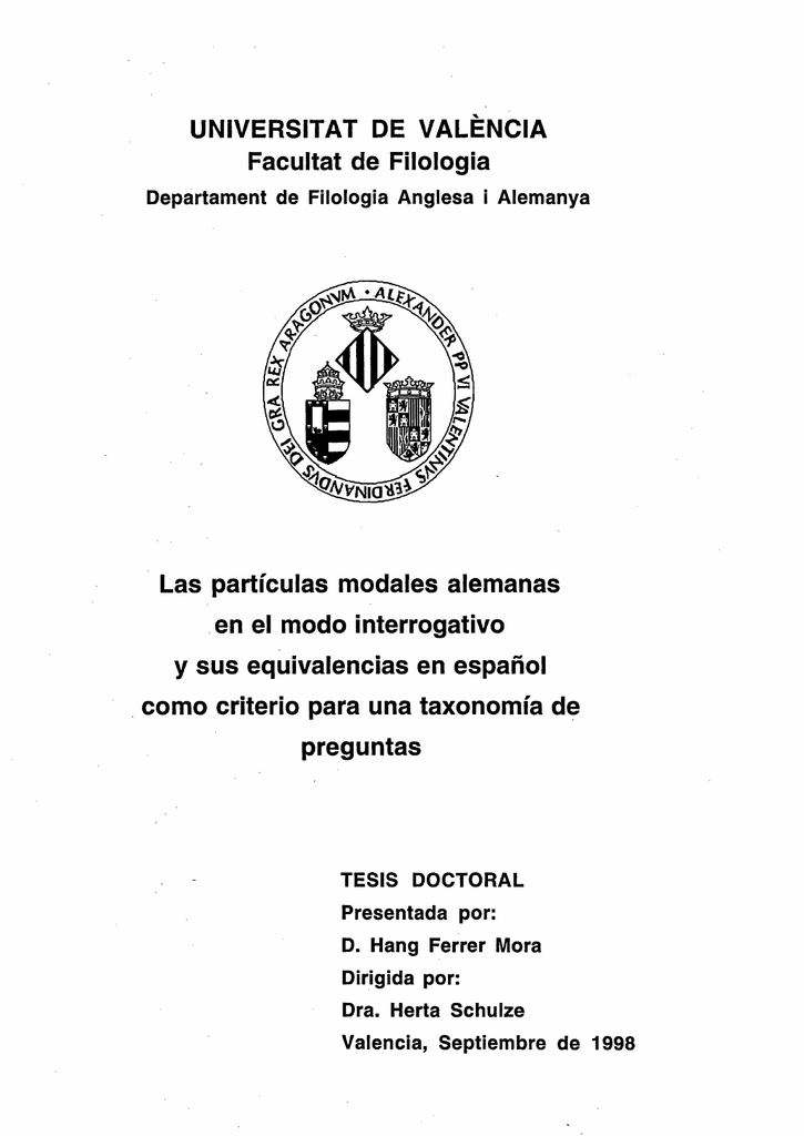 UNIVERSITAT DE VALÉNCIA Facultat de Filología Las
