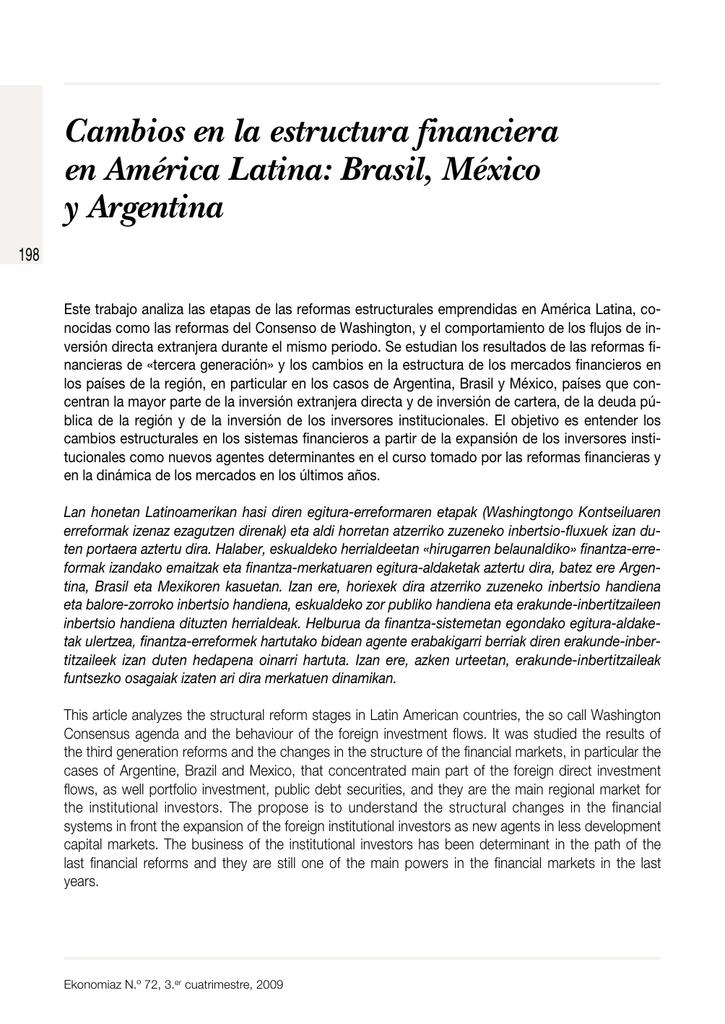 Cambios En La Estructura Financiera En América Latina