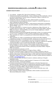 REQUISITOS PARA HABILITACION – CATEGORIA B –ORD. Nº