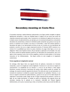 Secondary meaning en Costa Rica