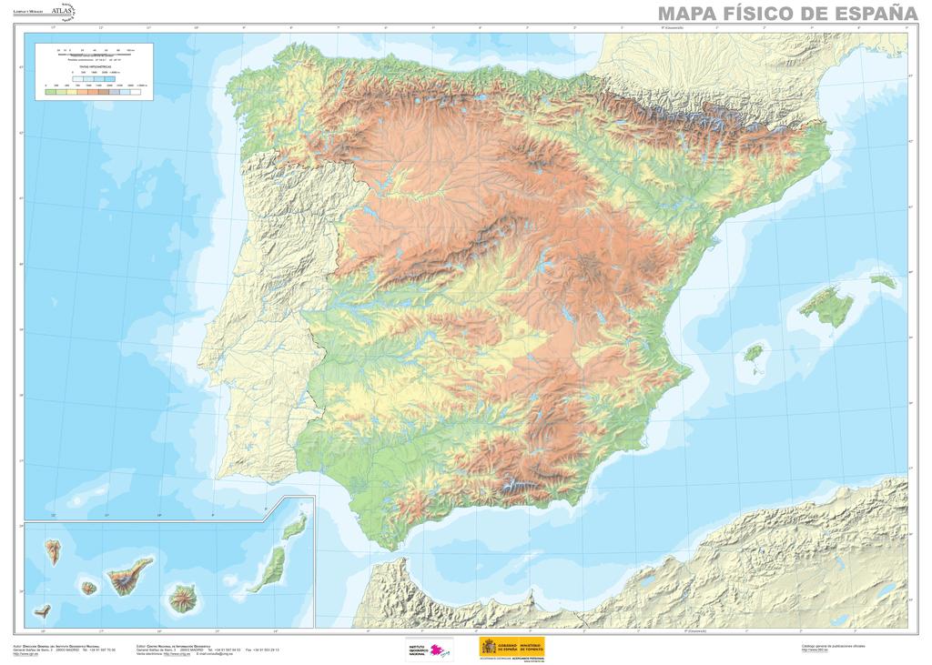 Cabo Ortegal Mapa Fisico.Mapa Fisico Espana Para Jornadas Mudo Indd