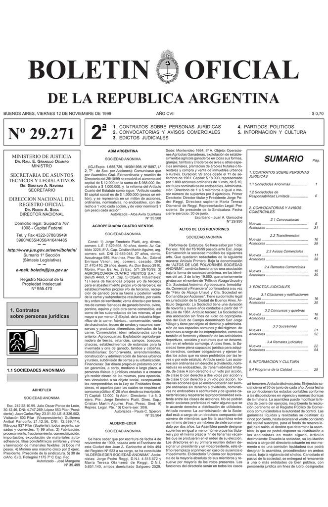 f03256225 BOLETIN OFICIAL DE LA REPUBLICA ARGENTINA BUENOS AIRES, VIERNES 12 DE  NOVIEMBRE DE 1999 Nº 29.271 2 ª AÑO CVII 1. CONTRATOS SOBRE PERSONAS  JURIDICAS 2.