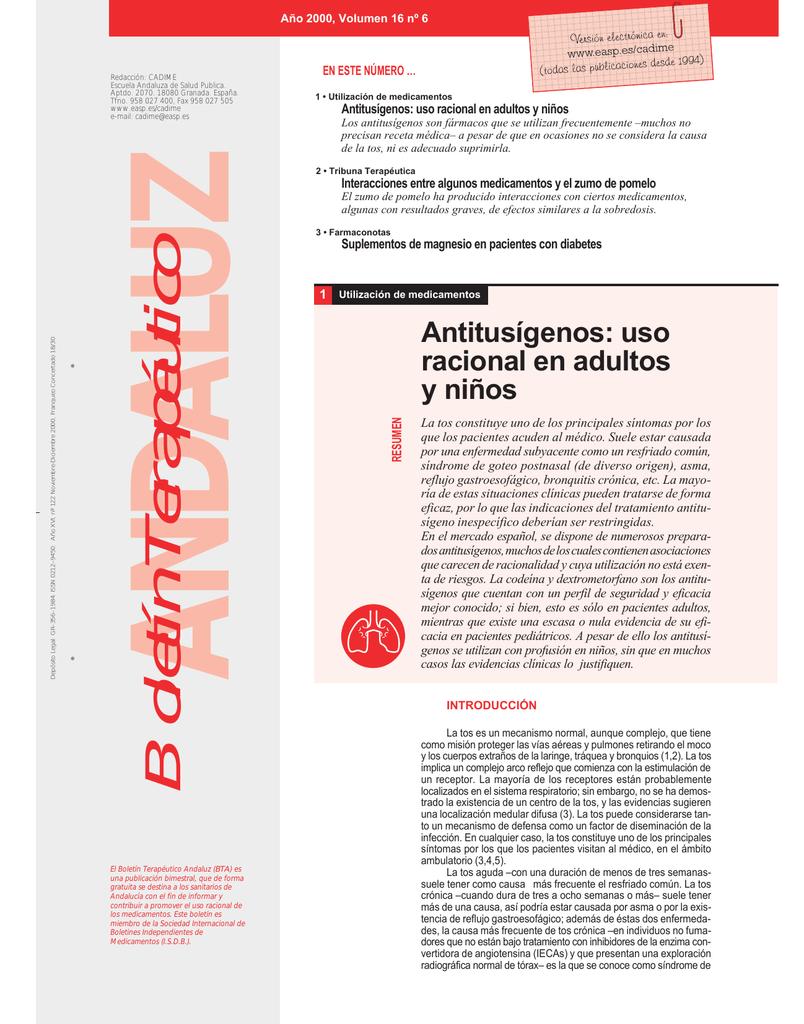 Año 2000, Volumen 16 nº 6 El Boletín Terapéutico Andaluz (BTA) es una  publicación bimestral, que de forma gratuita se destina a los sanitarios de  Andalucía ...
