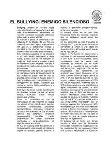 EL BULLYING. ENEMIGO SILENCIOSO